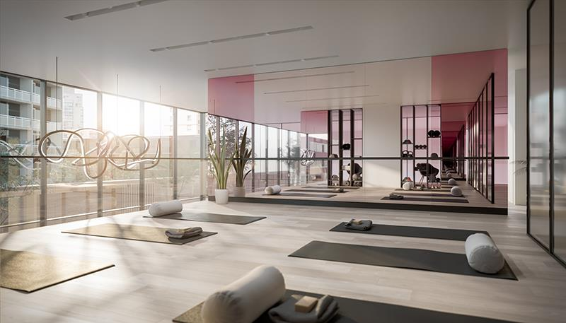Yoga Studio at Untitled Condos with floor to ceiling windows.