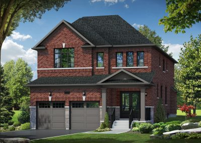 Beautiful Red Brick Home with 2 Garage doors in front.