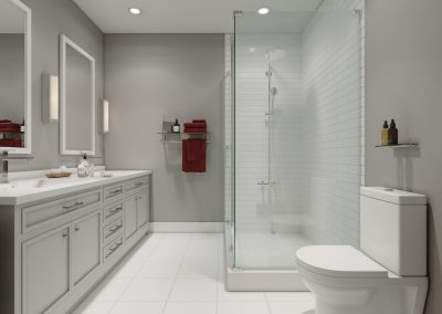 Modern white walled bathroom with glass shower and dual sink.